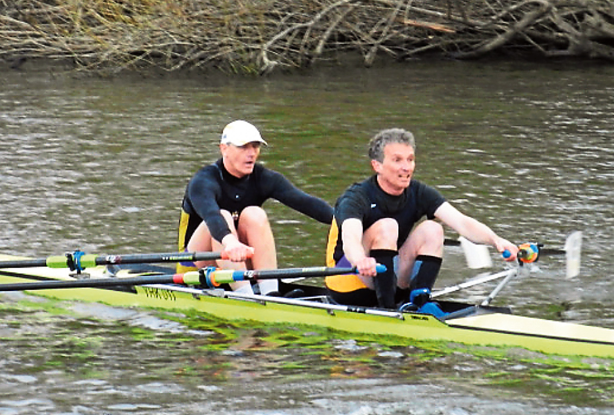 The York City Rowing Club Junior16 double scull of Alex Bruce, near right, and Will King on their way to victory at the Yorkshire Head meeting on the River Ouse