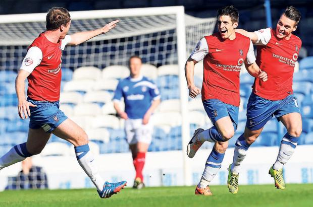 York City striker Michael Coulson gives his side the perfect start against Portsmouth