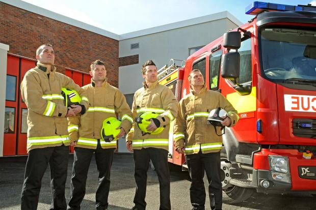 NEW FUTURE: Firefighters at the new fire station in York; from left, crew manager Russ Welburn, left,  and firefighters Steve Howley and Andy Daw, with watch manager Carl Vinand. Picture: David Harrison