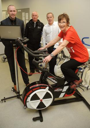Pictured at York St John University are, from left, Professor Andrew Smith, Richard Smith from York St John Active team, Phil McMahon, vice chairman of British Heart Foundation York and heart patient Anne Dixon.