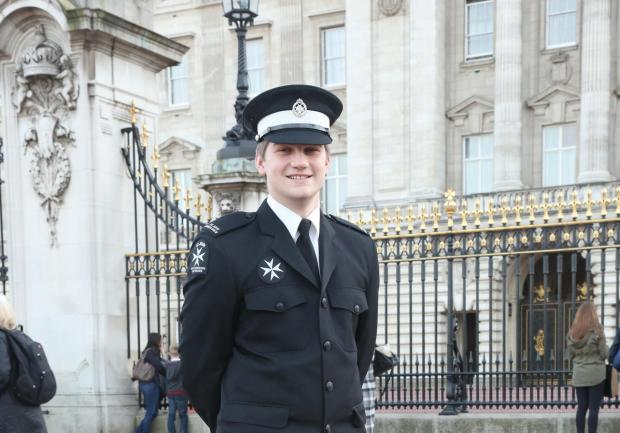 St John Ambulance cadet Andrew Richards at Buckingham Palace, where he received his award from Princess Anne