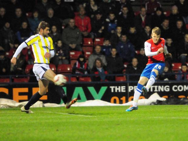 York Press: York City winger Will Hayhurst lets fly at the Torquay goal