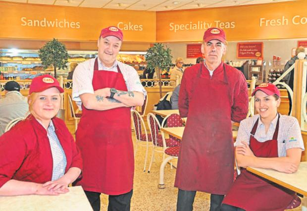 Morrisons cafe staff, from left, Rachel Lee, Brian Lawrence, Alex Koulous and Michaela Bolton