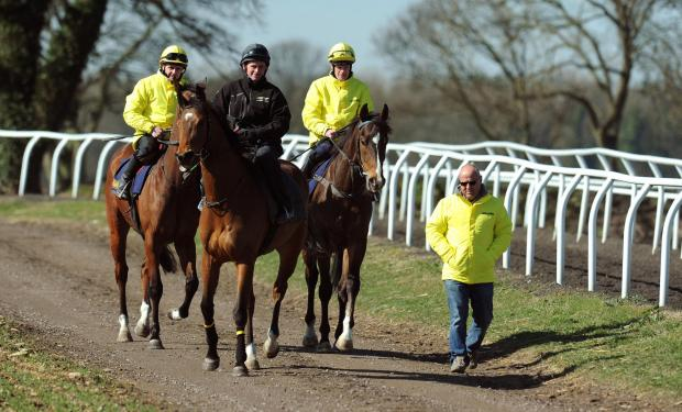 Trainer Richard Fahey,front right, leads down his three Lincoln runners Gabrial's Kaka, ridden by Barry McHugh, right, Hi There, ridden by Tony Hamilton, and Brae Hill, ridden by Ben Hamilton, centre, during the stable visit to Malton