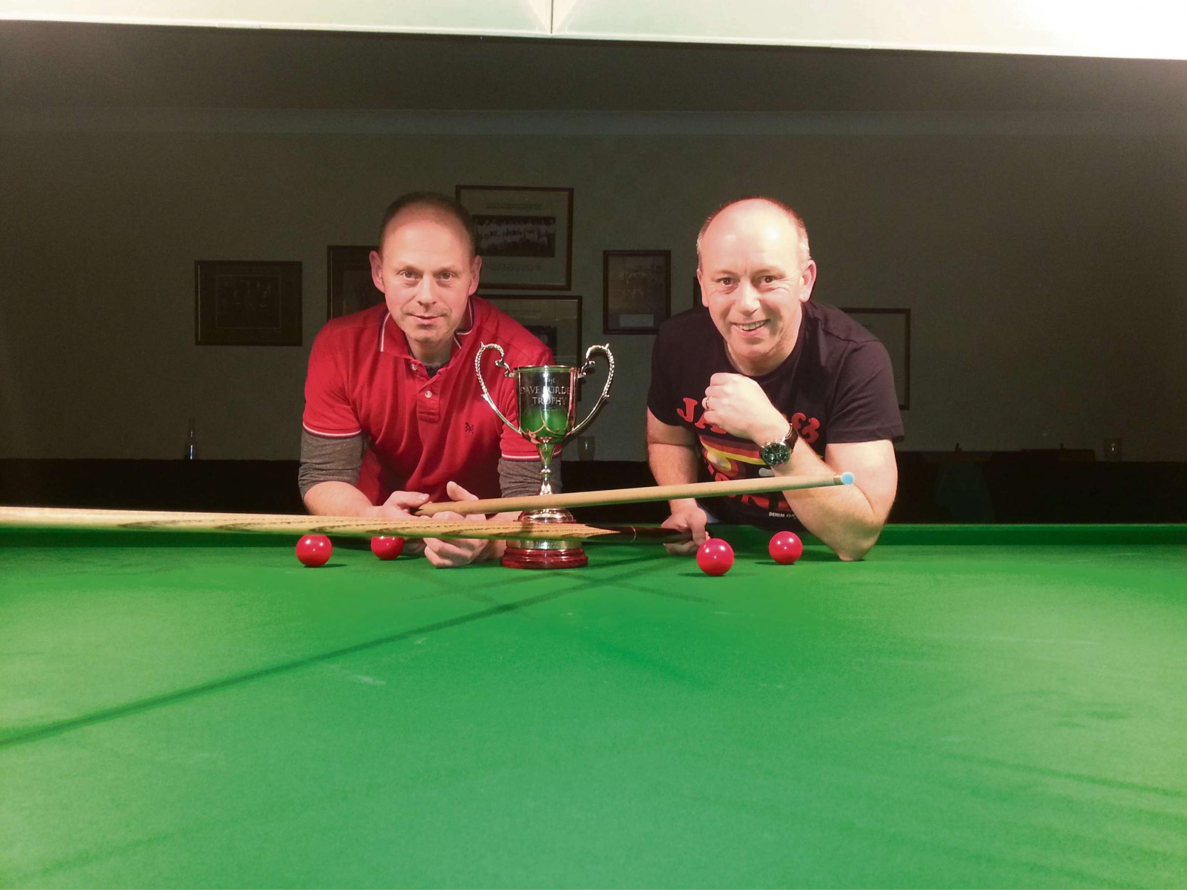 TECHNICAL TUSSLE: The Dave Burdett Pairs winners pictured are Roger Ward and Lee Taylor, representing Malton, who beat Sam England and Glen Mountain 2-1 in a closely fought game at Heworth Conservative Club