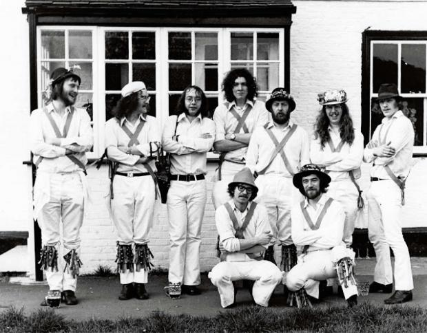 The Ebor Morris dancers at their first dance, outside the Lord Collingwood pub in Upper Poppleton.