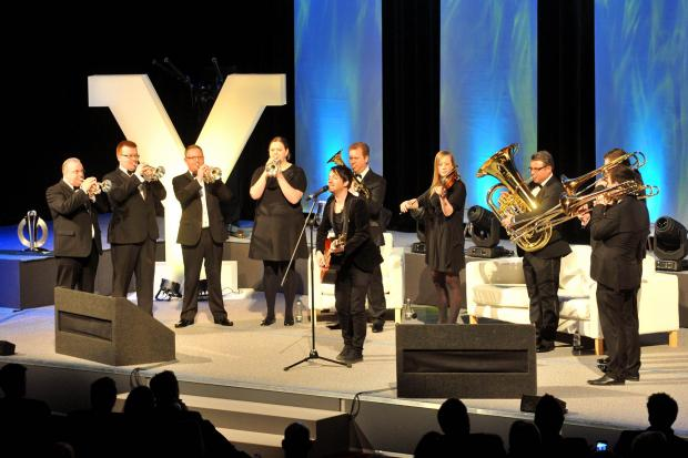 York Press: Y14:  Alistair Griffin and the Grimethorpe Colliery Band premiere the official Grand Depart song at Y14. Picture: Matt Clark