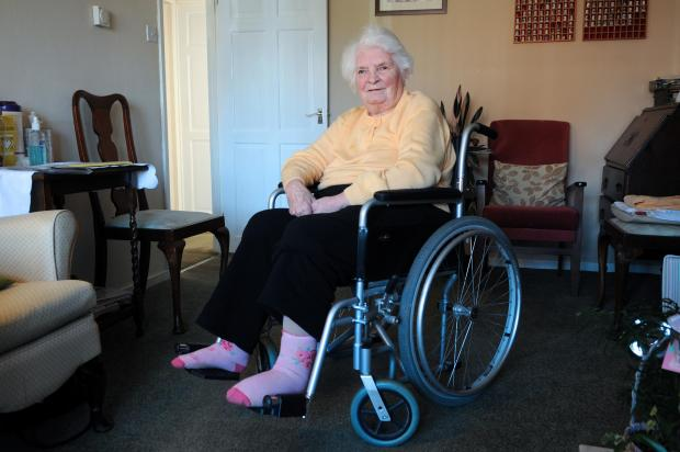 "Ryta Grimston, who cannot attend a day centre because her wheelchair has been deemed ""not crash proof"""
