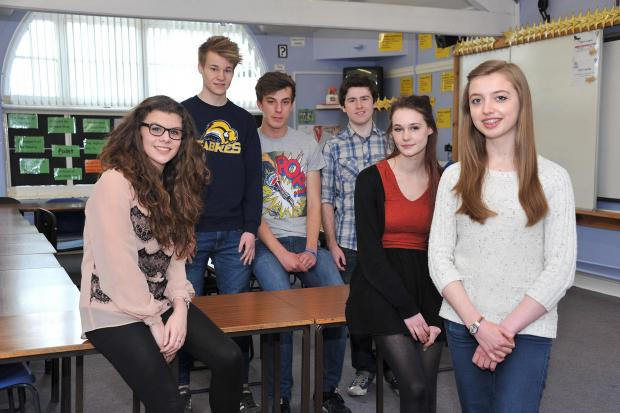All Saints lower sixth students from left, Vicky Williams, Tom Warren, Liam Spindlow, Harry Kilmartin, Holly Beer and Jennifer Moulds.