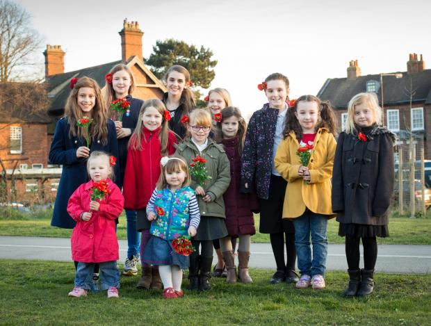 SHOW OF SUPPORT: Girls who put their names to the Poppy Road Poppy Project