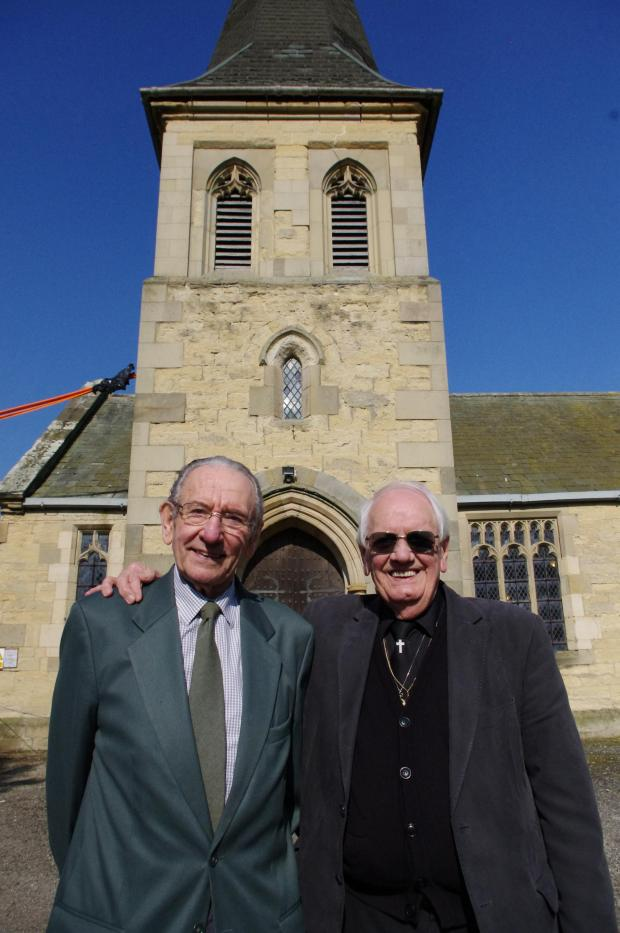 York Press: TOGETHER AGAIN: Bryan Mills, left, and Mike Ely, right, outside St Mary's Church, Sand Hutton; right top, Bryan, and below, Mike, while in the Royal Engineers