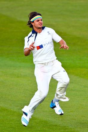 Yorkshire bowler Jack Brooks in action against Leeds/Bradford students