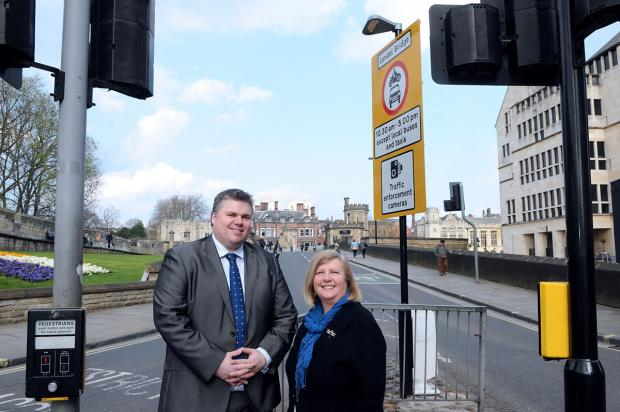 Councillors Chris Steward and Ann Reid at Lendal Bridge. A Government inspector now says fines should not have been imposed on drivers