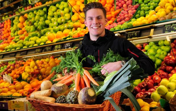 York Press: HEALTHY: Pocklington greengrocer William Brown with an ample supply of your seven-a-day requirement                              Picture: Anthony Chappel-Ross