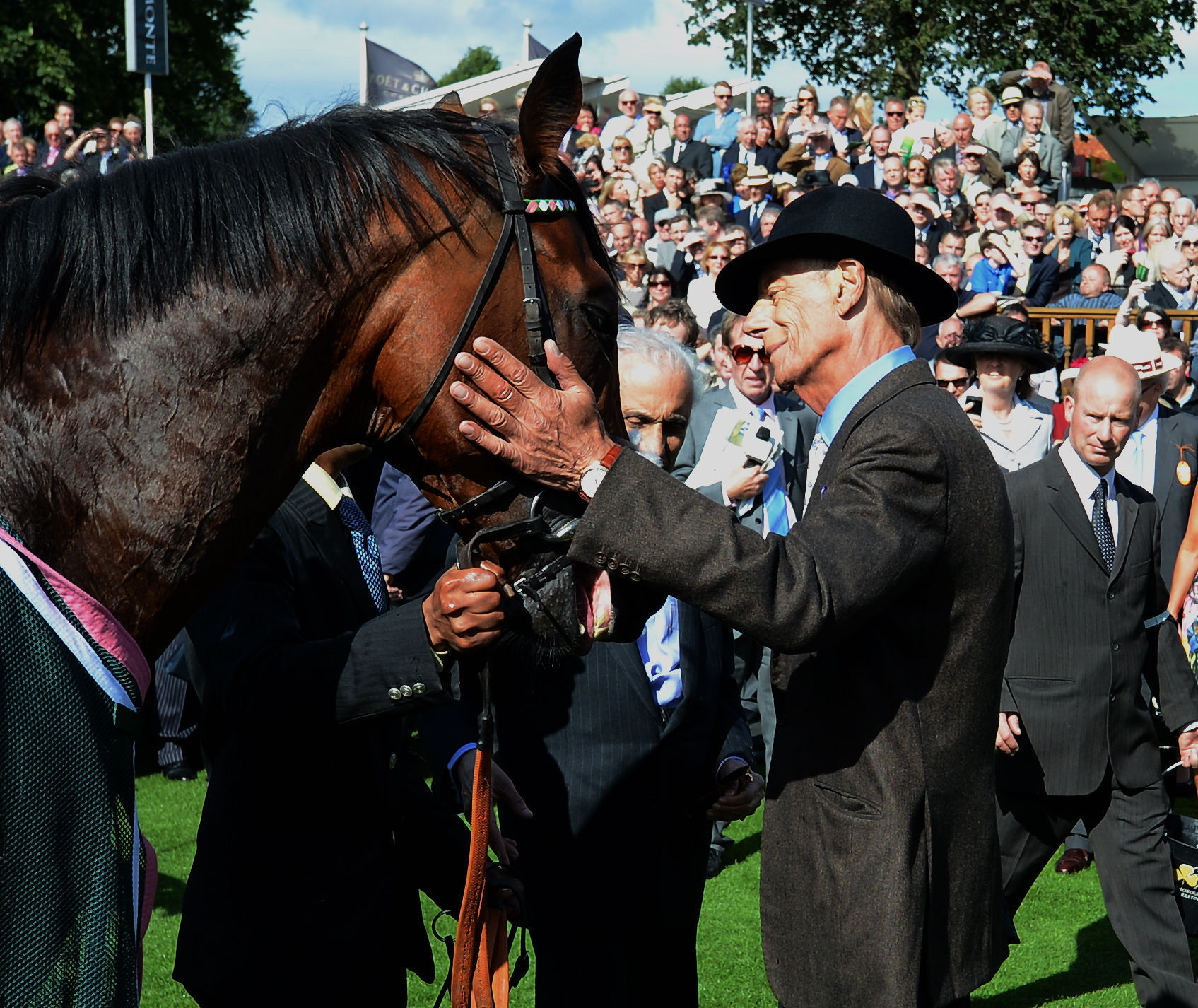 Trainer Henry Cecil greets Frankel after his victory in the Juddmonte International Stakes in 2012