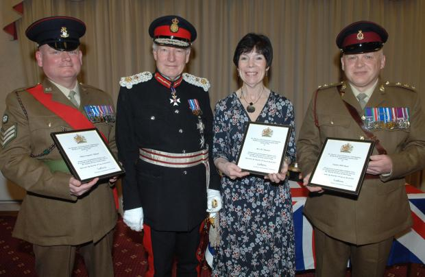 Prestigious honours - pictured (L-R) Sean Hyland, Marian Herdson, Lord Crathorne & Rob Ducat