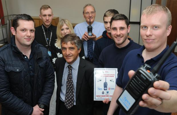 York Businesses Against Crime new partnership is launched  and are provided with new digital radios from Richard Berry (right), Systems Support Engineer with Apex Radio     Picture Frank Dwyer (5091612)