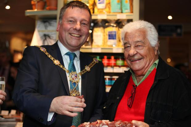 Antonio Carluccio meets the Lord Mayor of Harrogate Coun. Michael Newby at the opening of Carluccio's restaurant in Harrogate.