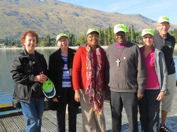 LAKESIDE: Dr John Sentamu and his wife Margaret Sentamu (centre) pictured by Lake Wakatipu, New Zealand with (L-R) former Bishopthorpe resident  Jill Whitfield (nee Seward), Maureen Knight, Rev. Judy Johnston and  Peter Thomas, all of All Saints Church In