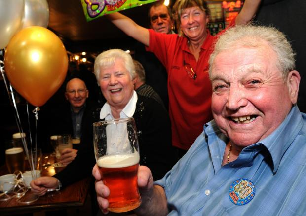 John Gillan who celebrated his 80th Birthday at the Burns Hotel , York after drinking 7 pints a day from when he turned 18     Picture Frank Dwyer  (5101326)