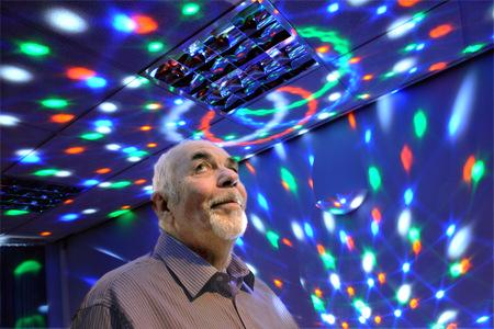 Roger Livesey in the new sensory room at Wilberforce Trust Huntington.