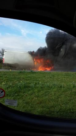 Dramatic van fire on North Yorkshire road