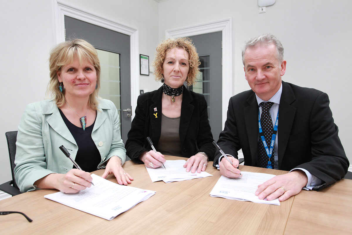 Kersten England, chief executive of City of York Council; Dr Mark Hayes, the Vale of York Clinical Commissioning Group's Chief Clinical Officer; and Councillor Tracey Simpson Laing, chair of the Health and Wellbeing Board with York's Better Care Fund