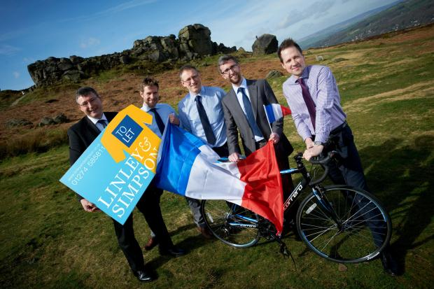 Caption:  (from left) Mark Christopher, Mike Moon, Anthony Metcalfe, Steve Kilby and Paul Bridgeman unveil the limited edition boards created by Linley & Simpson to mark the Tour de France in Yorkshire (5180619)
