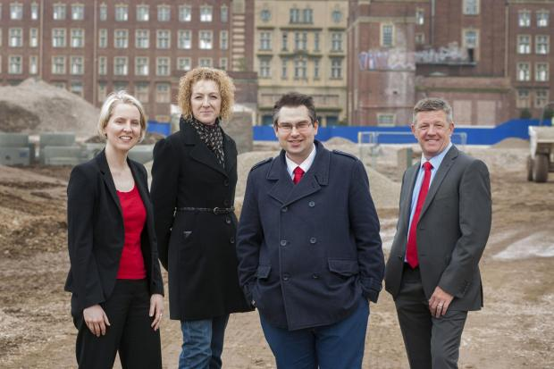 Picture shows:(L-R) Shadow housing minister Emma Reynolds with Coun Tracey Simpson-Laing and Coun James Alexander and Paul Newman, managing director of David Wilson Homes Yorkshire East.