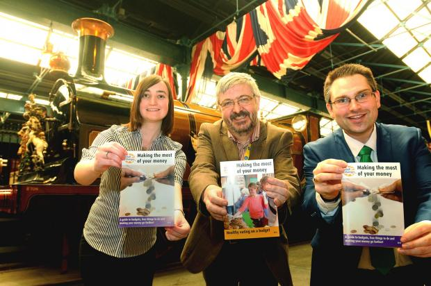 From left, Lauren Peel from Aviva, George Vickers, manager of York Citizens Advice Bureau and Coun James Alexander, Leader of the City of York Council, with the new booklet Small Changes - Making The Most Of Your Money