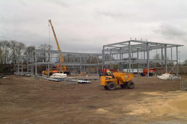 Steelwork being erected on the site of the new Selby Leisure centre in Scott Road