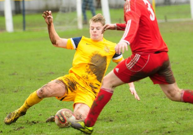 Tadcaster Albion v Winterton. Josh Barrett in action.