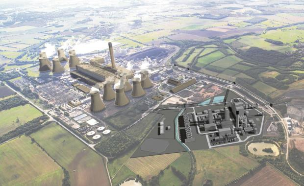 Aerial illustration of the proposed White Rose CCS project alongside Drax Power Station