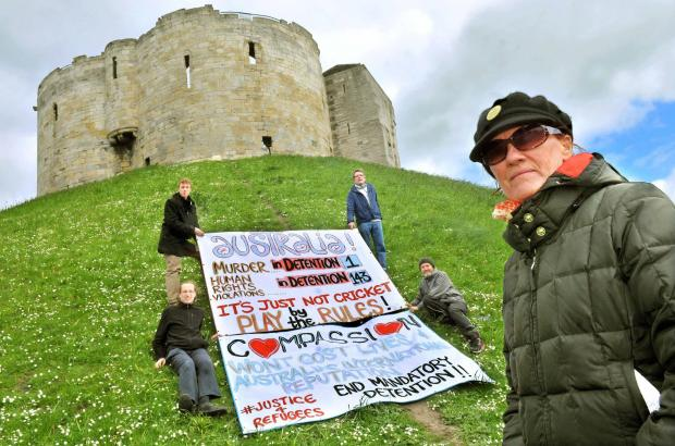 Jacquie Coupe and fellow protesters at Cliffords Tower.