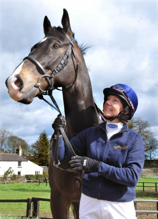 Jockey Wendy Hoggard with racehorse Mon Brav getting ready for her charity race in June