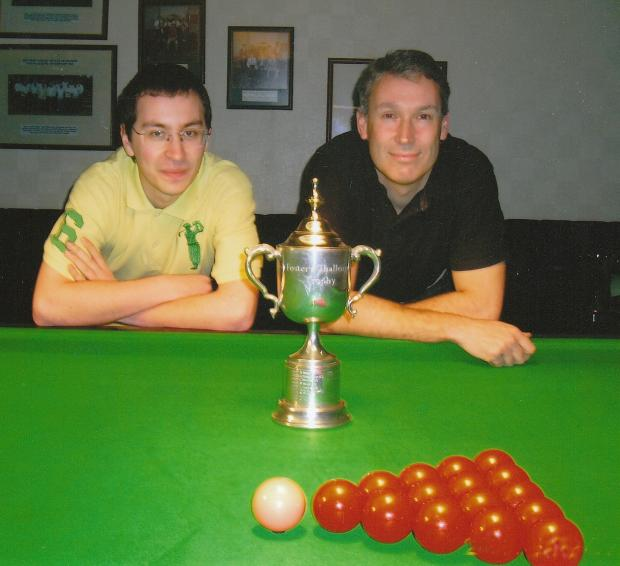 Runner-up James Lee, left, with York Conservative Clubs' Fosters Challenge Snooker Trophy winner Barry Rankin