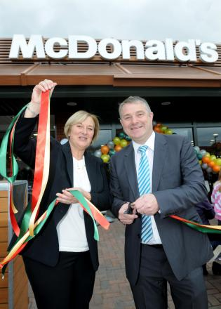 Ann and  John Atherton at the official re - launch of the McDonald's Restaurant at Cliftion Moor