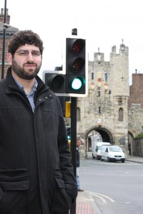 Cllr Levene, pictured at Micklegate Bar traffic lights