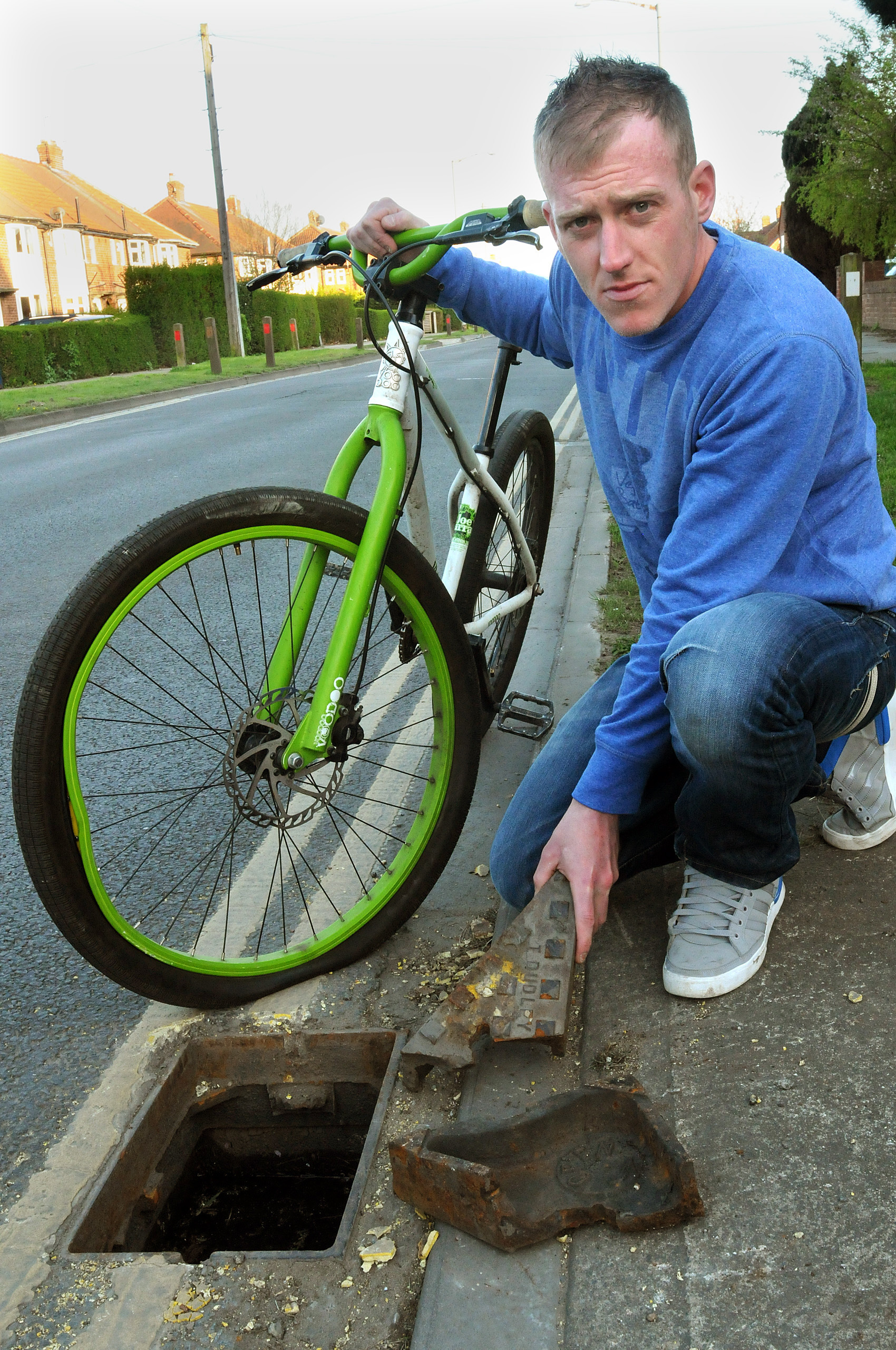 'Open manhole almost killed me', says cyclist