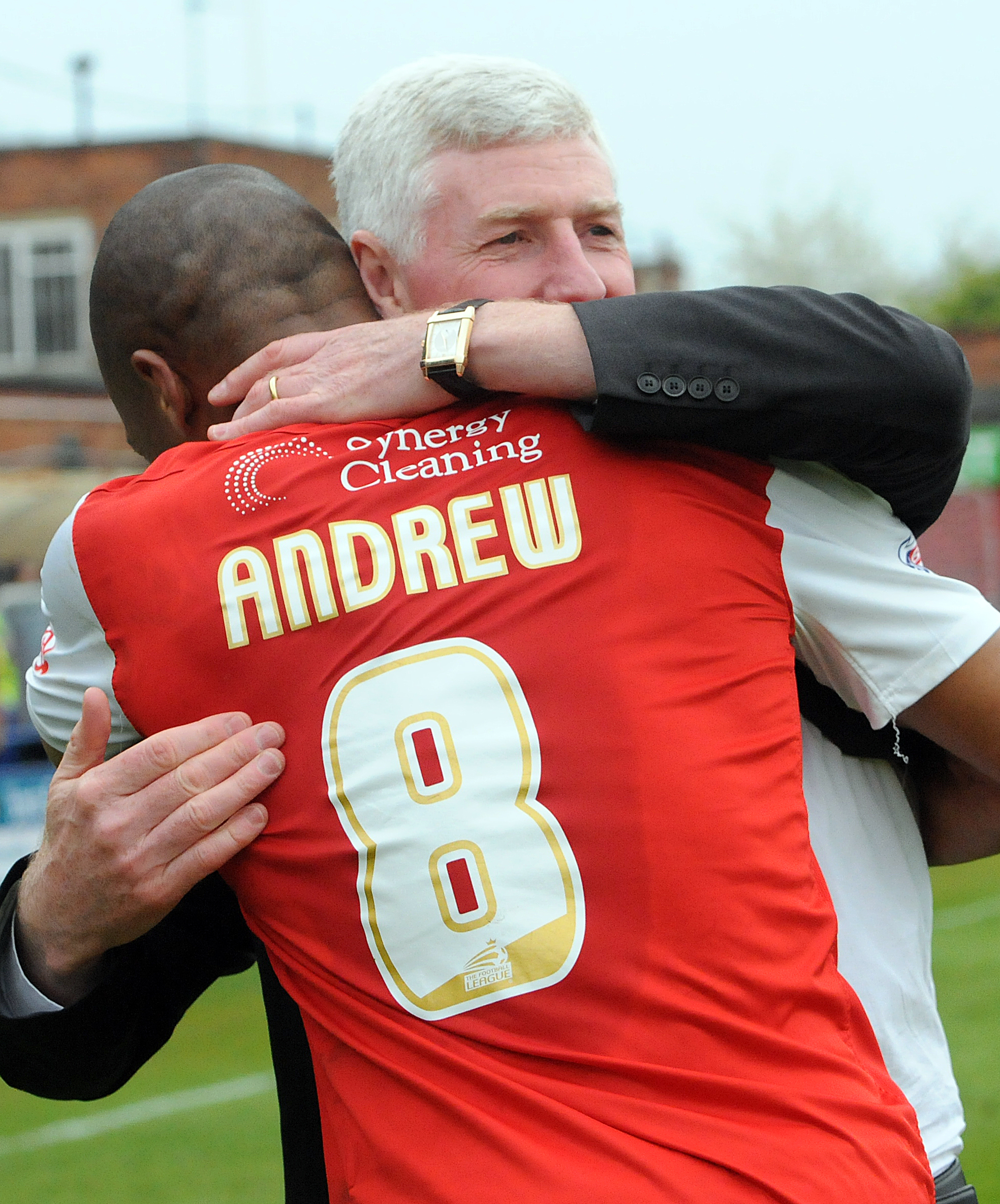 York City's Calvin Andrew gets a hug from Manager Nigel Worthington at the end of the match at Bootham Crescent.