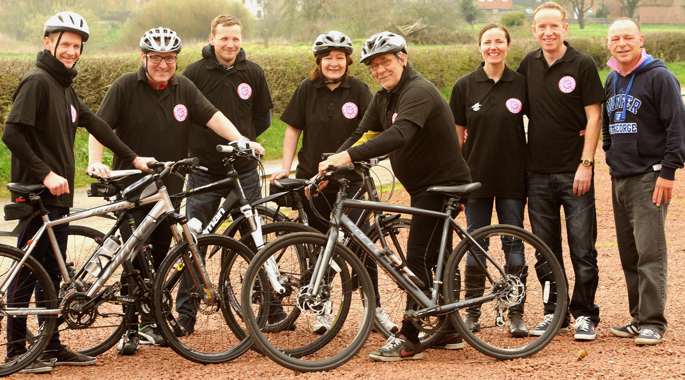 EASY RIDERS: From left, Peter Walker, Mark Whitaker, Daniel Sutcliffe, Sarah Smith, James Atkinson, Gill and Jim Murphy (who along with Sarah Smith are founders of Circle of Hope)