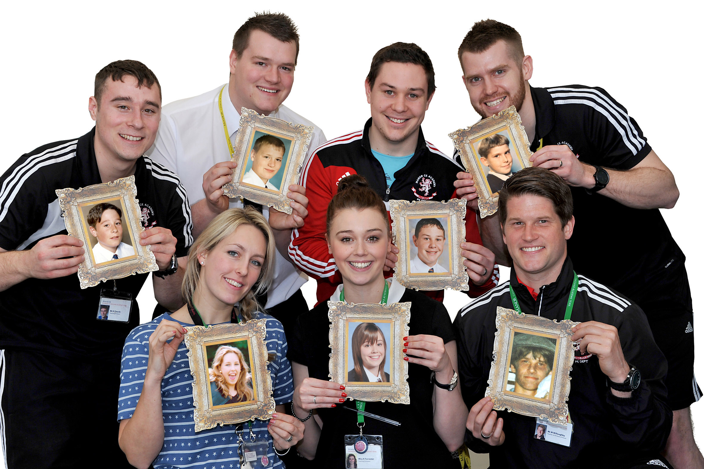 Melanie Fox, Mark Willoughby, Sean Rescorle, Kevin Church, David Cockerill, Sam Ross and Katie Forrester – pictured holding photographs of their younger selves