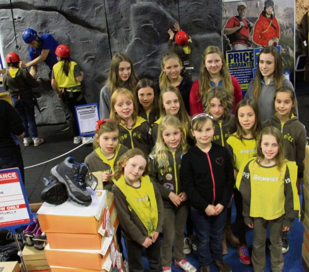 A group of Strensall Brownies pictured during a visit to the climbing wall at Go Outdoors
