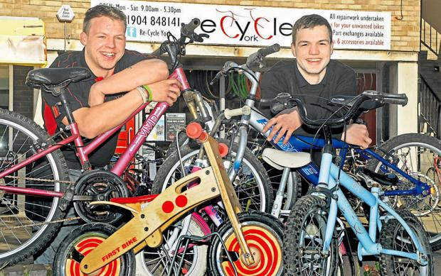 Bradley and Casey Want, who run Recycle York, have donated bikes to pre-school children in an effort to get more young people interested in cycling ahead of the Tour de France Grand Départ in York