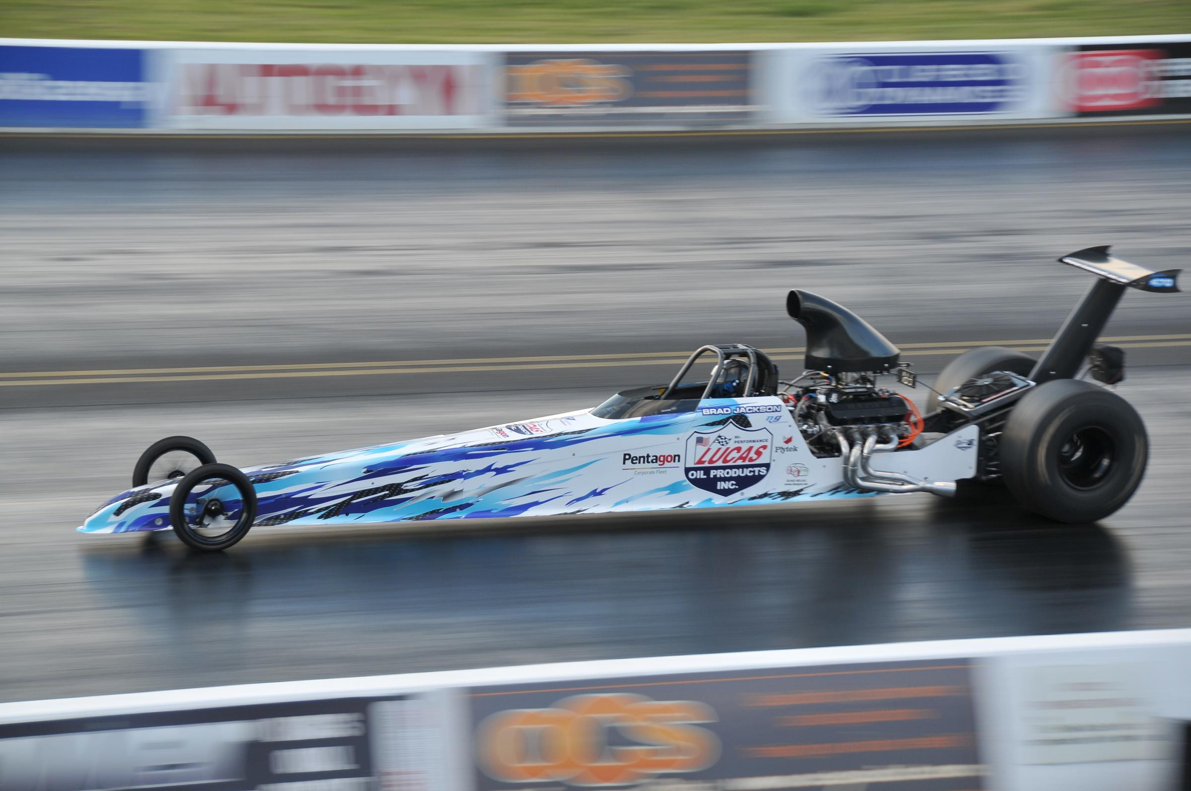 Naburn's Brad Jackson roars into impressive action on his pro debut at the Santa Pod Raceway n