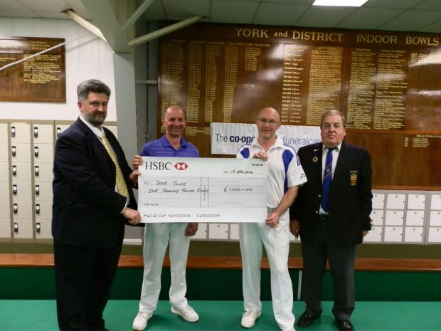 Planet Bowls York Open 2014 presentation, from left, Philip Taylor from sponsors Co-operative Funeralcare, winner Steve Tuohy, runner-up Andy Ware and York Indoor Bowls Club chairman Roy Colebourn