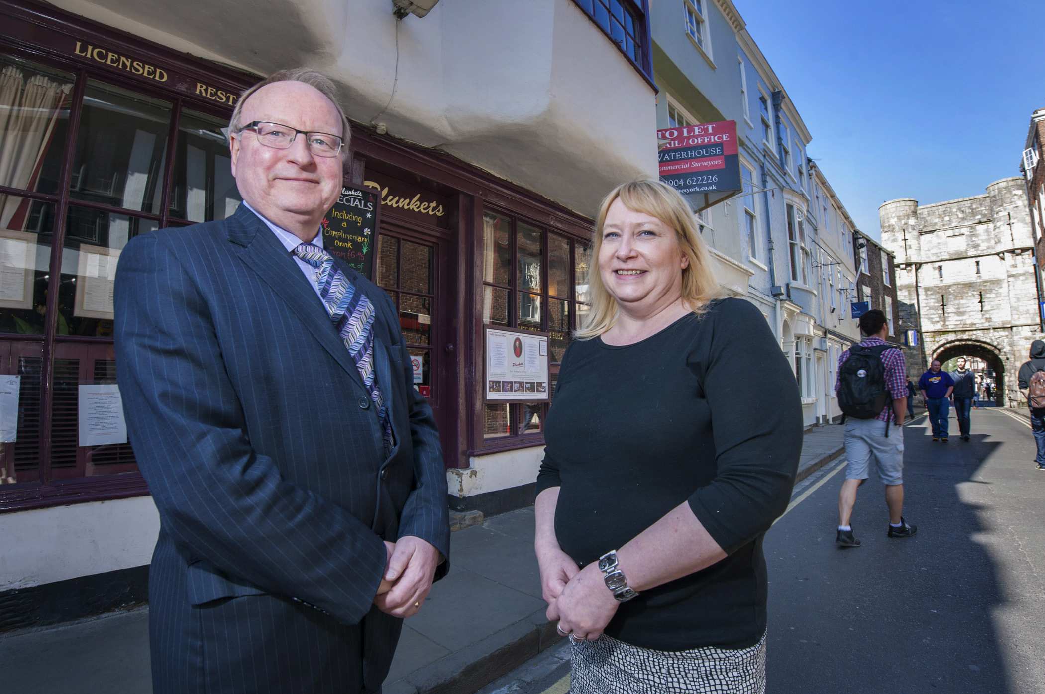 JWP Creers corporate finance partner, Tony Farmer and Plunkets director, Sharon Brown, outside the well known independent York restaurant which is being put up for sale.