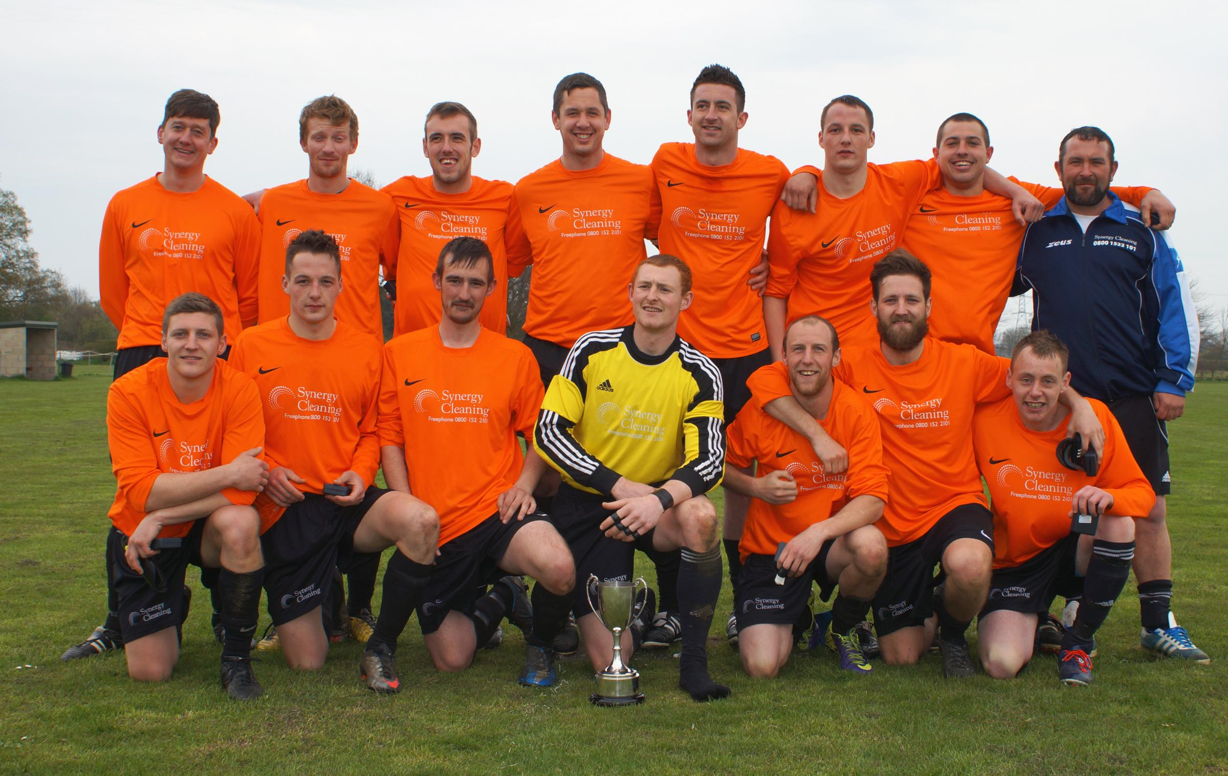 Britannia Tadcaster are pictured celebrating their York FA Sunday Morning Junior Cup triumph over Haxby Lions