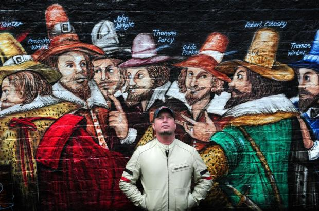 York Press: Artist David John Earl pictured in front of part of his creation in the garden of the Guy Fawkes Inn.