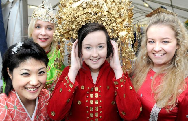 At the York International Festival are York St John University students  Yukiko Wada, Charlotte Albaya, Lauren Wilson and Katie Richardson